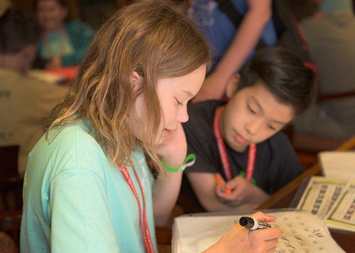 International homeschool girls playing at an event